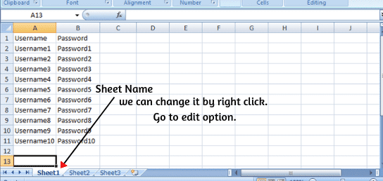 Excel sheet name