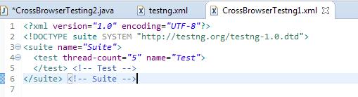 Cross browser testng xml file