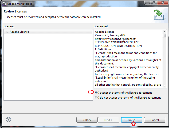 Licenses review when TestNG Framework installation finish