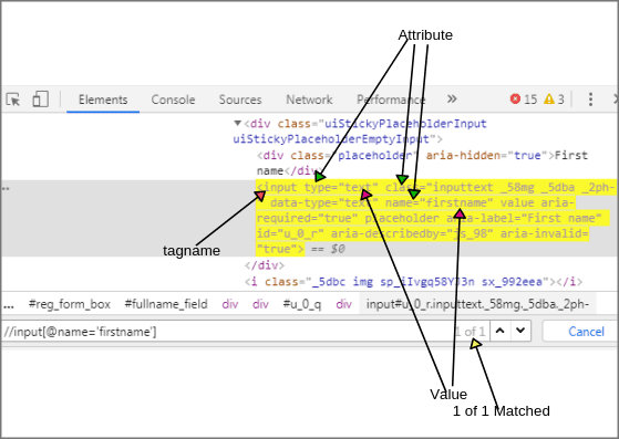 Syntax to find XPath in Chrome browser