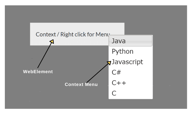 Right click in Selenium
