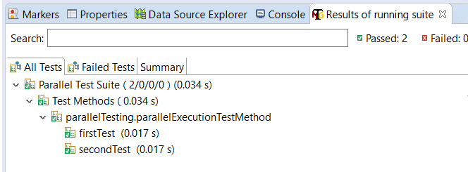 Result of parallel execution test methods