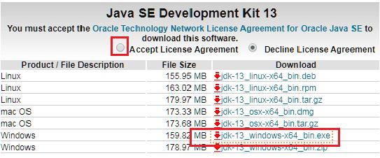 Download and install Java Development Kit JDK 13 version